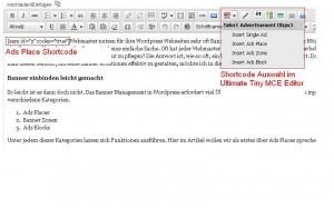 Wordpress Banner Verwaltung - Shortcodes einfügen