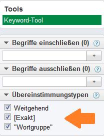 Google Keyword Tool weitere Suchoptionen