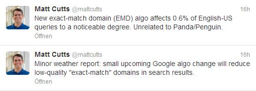 Google Algorithmus Änderung Twitter Matt Cutts