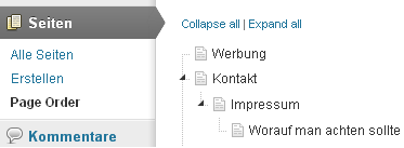 Wordpress als CMS - CMS Page Order