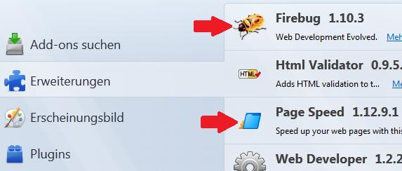 Firebug und Page Speed
