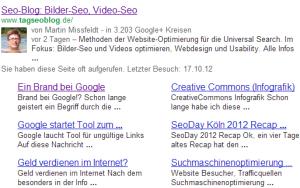Sitelinks in den Google SERP´s – Google mag es kunterbunt