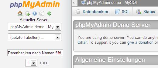 Datenbank Backup mit PHPMyAdmin