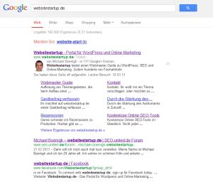 """Bei der Suche nach """"rankpress.de"""" werden die Sitelinks angezeigt"""