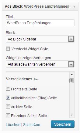 Mit dem Display Widget Plugin den Werbeblock auf der Startseite verstecken