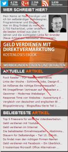 Die Sidebar von selbständig-im-netz.de
