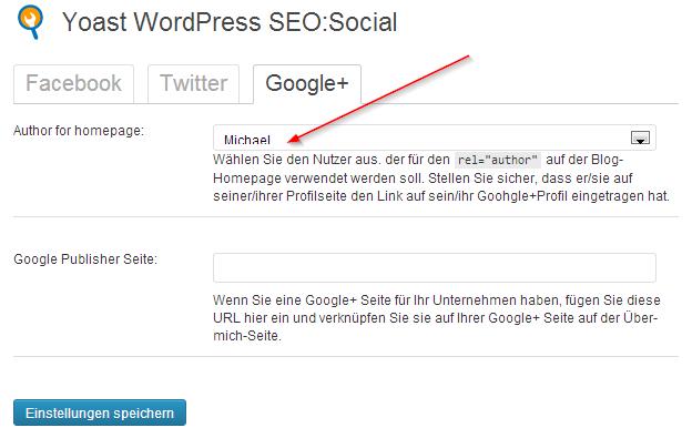 """Unter """"SEO -> Social -> Google+"""" lässt sich das Authorship wieder aktivieren"""