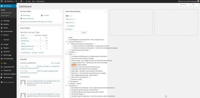 Wordpress Admin Dashboard vier Spalten