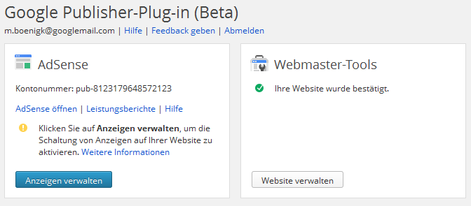 Wordpress Google Publisher Plugin Optionen