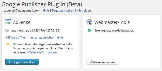 Wordpress Google Publisher Plugin Optionen