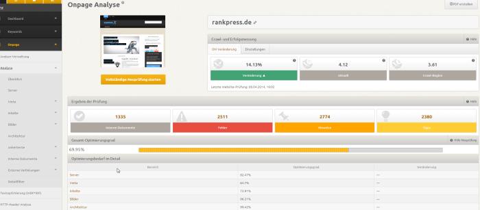 Onpage SEO Analyse mit dem XOVI Tool