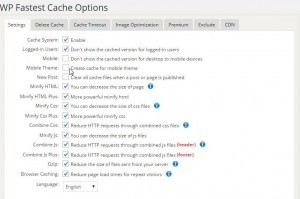 Wordpress Fastest Cache Plugin Backend